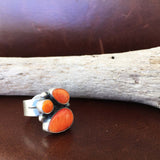 Vibrant Small Three Stone Orange Spiny Oyster Sterling Silver Ring Size 6