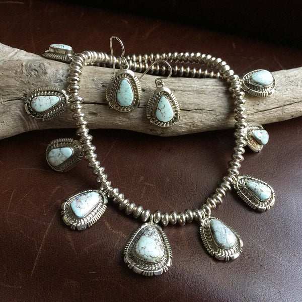 Beautiful Classy Dry Creek Turquoise Necklace with Navajo Bead and Earring Set