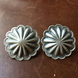 Handmade Sterling Silver Stamped Flower Earrings Signed by Harris Joe