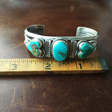 Three Stone Heart Shaped Royston Turquoise Bracelet Cuff Signed Vintage