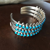 Beautiful 3 Row Sleeping Beauty Turquoise Mini Cluster Sterling Bracelet Cuff