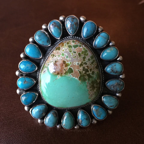 Natural Royston Turquoise Statement Ring with Ithaca Peak Mini Stones Size 8