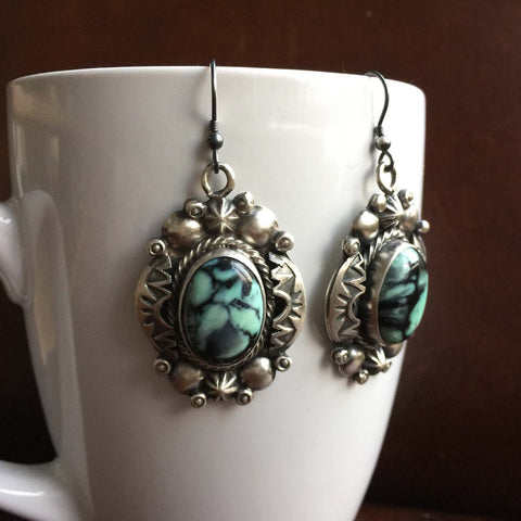 Garden of France New Lander Turquoise Earrings Signed Marvin McReeves