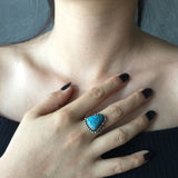 Old Pawn Handmade Super Rare Lone Mountain Turquoise Ring Size 6