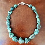 "16"" Mixed Sized Demale Turquoise Cabs Necklace"