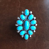 Beautiful Navajo Sterling Clustered Sleeping Beauty Turquoise Flower Ring Size 7