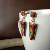Sterling Silver Red Coral Inlay with Native Design Dangle Earrings