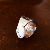 Mini Single Stone Black New Lander Stamped Sterling Silver Overlay Ring Size 7