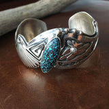 Beautiful Assymetric Kingman Turquoise Sterling Silver Overlay Bracelet