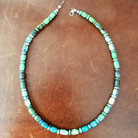 "16"" Mixed Length Damele Turquoise Beaded Necklace Rare For Collectors"