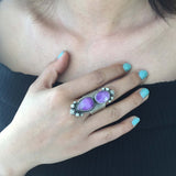 Beautiful Handmade Sterling Silver 2-Stoned Light Purple Sugilite Ring Size 7.5