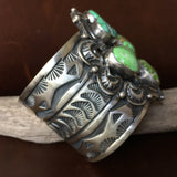 Beautiful Sterling Green Carico Lake Turquoise Cuff Signed Darrin Livingston