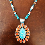 Royston and Spiny Oyster Pendant with Royston, Spiny Oyster, and Navajo Beads