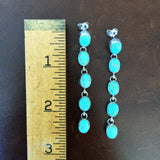 Beautiful Handmade Number 8 Turquoise Sterling Silver Dangle Earrings