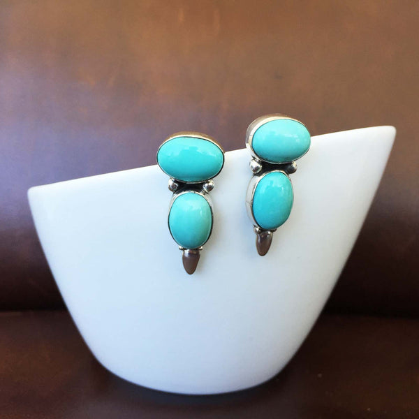 Beautiful Handmade Two Stoned Campitos Turquoise Sterling Silver Earrings