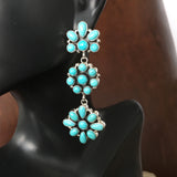 Flower Sterling Cluster Earrings Campitos Turquoise Long Dangle Handmade