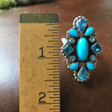 Beautiful Handmade Sleeping Beauty Turquoise with Blue Topaz Ring Size 8