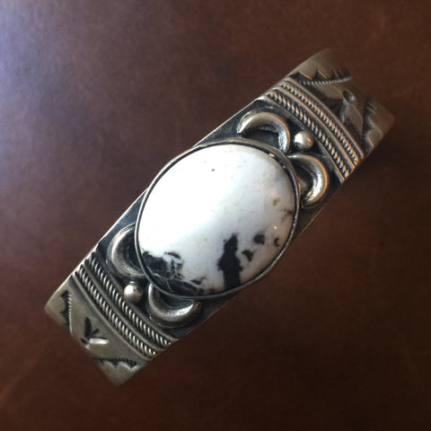 Natural White Buffalo Stamped Sterling Silver Bracelet Signed Ray Bennett