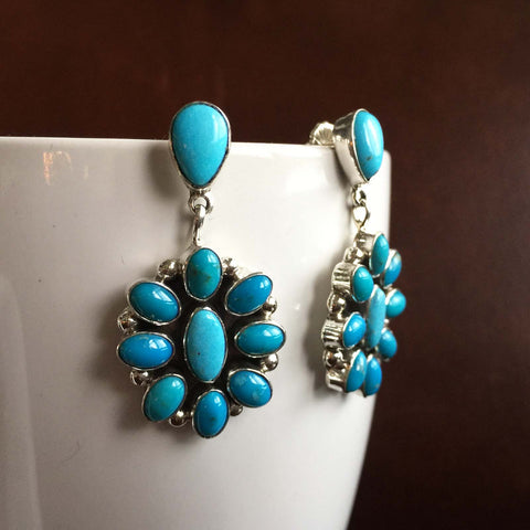 Beautiful Sterling Silver Mini Clustered Kingman Turquoise Dangle Earrings