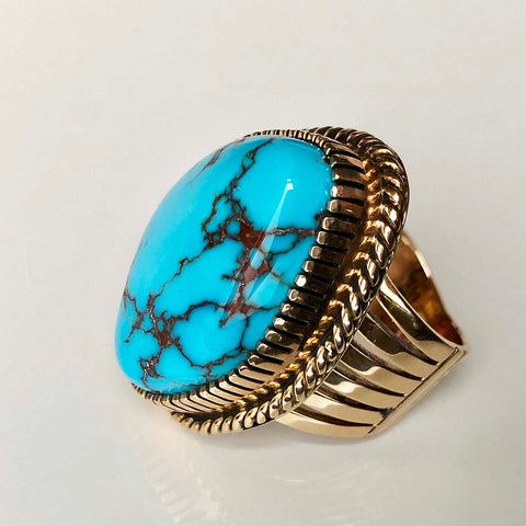 I Rule You Huge Egyptian Turquoise 14K Gold Ring Handmade Signed Size 8