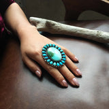 Large Statement Ring with Royston Turquoise and Morenci Clusters Size 9