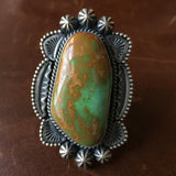 Handmade Royston Turquoise Statement Ring Signed by Michael Calladitto Size 9.5