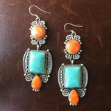 Three Stone Spiny Oyster and Campitos Turquoise Earrings Square Signed