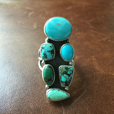 Handmade 6-Stone Mixed Turquoise Sterling Ring Stamped Etta Endito Size 7