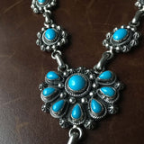 Blue Sunshine Natural Sleeping Beauty Sterling Necklace Signed Marita Benally