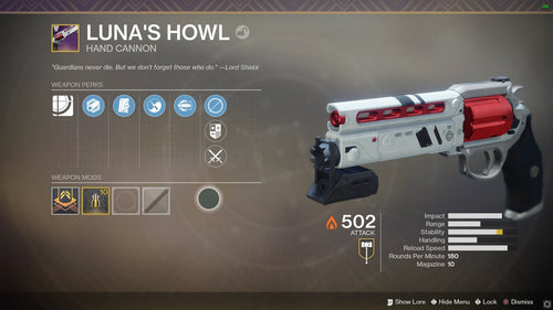 Legendary Hand Cannon - Luna's Howl