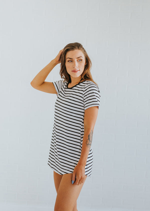 Striped Oversize Tee Dress