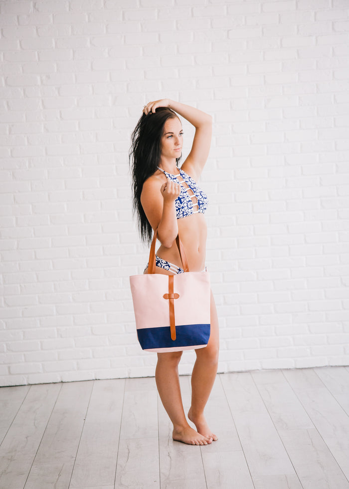 Pink Navy Beach Bag