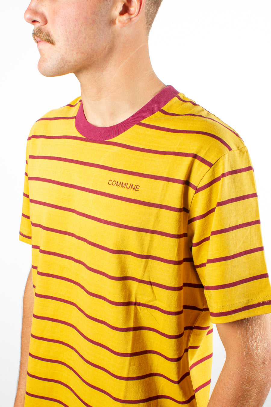 Polymer X Commune Capital Horizontal Stripe Tee Mustard