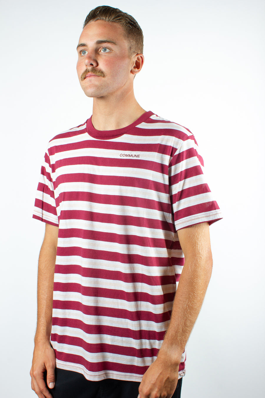 Polymer X Commune Capital Horizontal Stripe Tee Burgundy