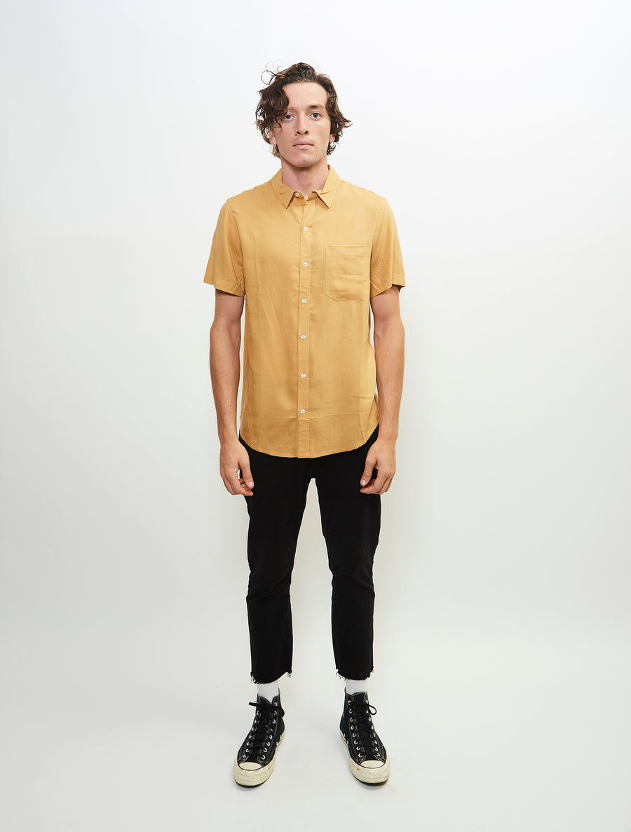 essential-short-sleeve-viscose-woven-button-up-shirt-mustard