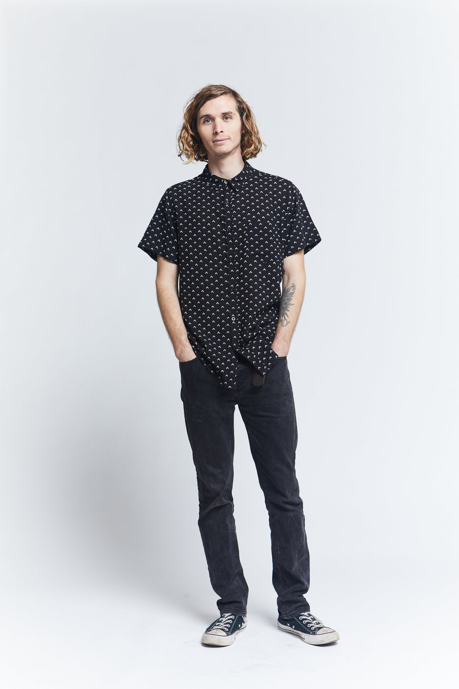 unisex-short-sleeve-button-up-shirt-viscose-regular-fit-black