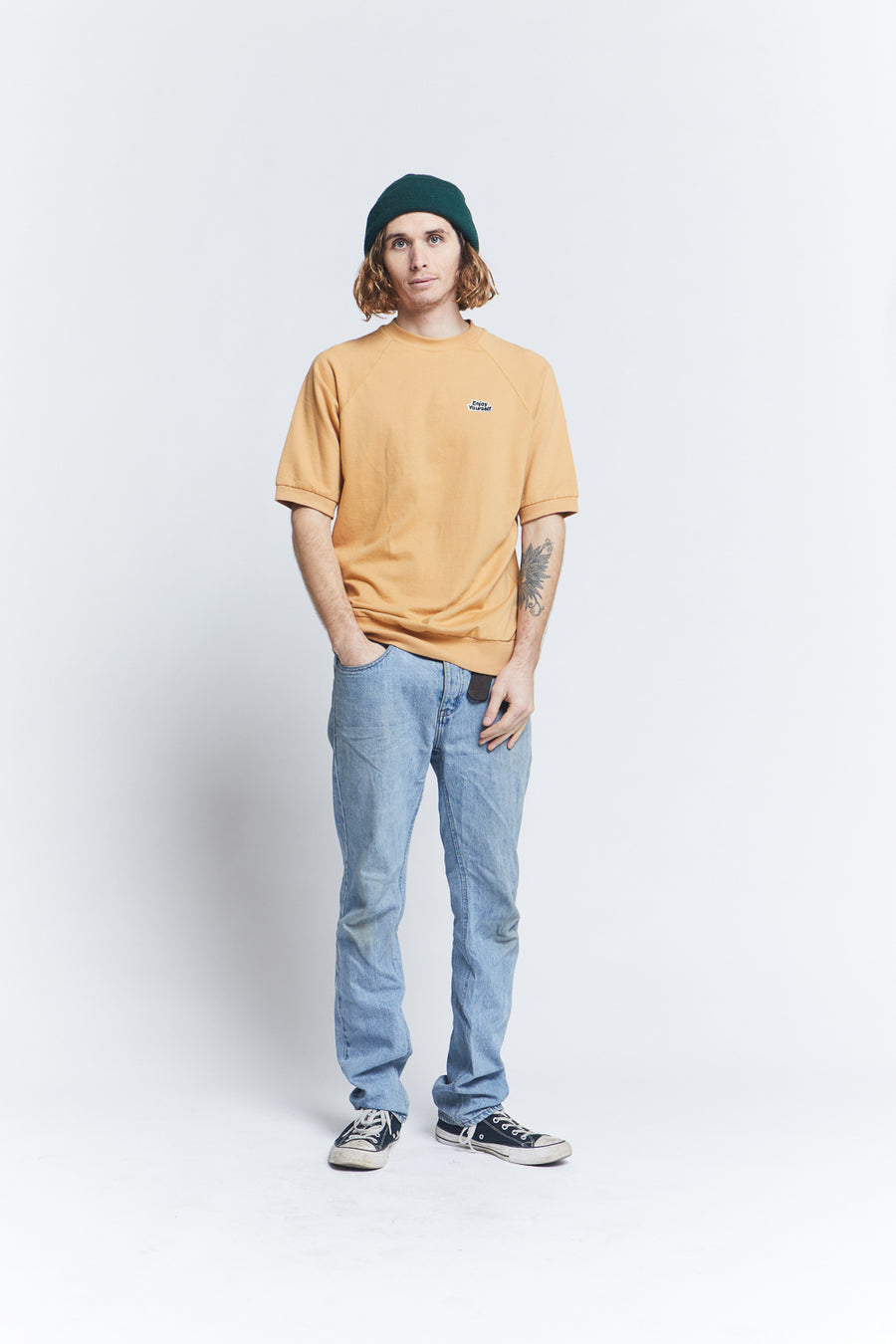 short-sleeved-loose-knit-french-terry-fleece-raglan-ribbed-bottom-waistband-regular-fit-mustard