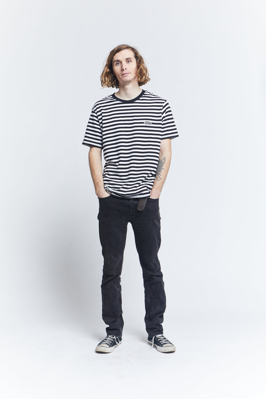 short-sleeve-black-cotton-regular-fit-striped-tee