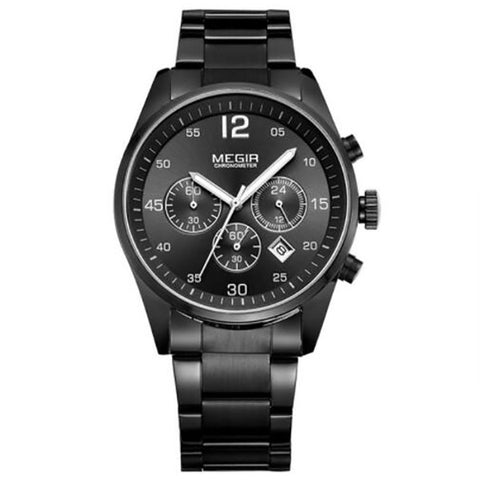 Fashion Chronograph Watch Military Quartz Watches Stainless Steel Business Wrist