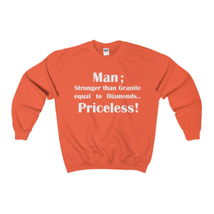 MAN; STRONGER THAN GRANITE...,(White print)Heavy Blend™ Adult Crewneck (Sweatshirt)