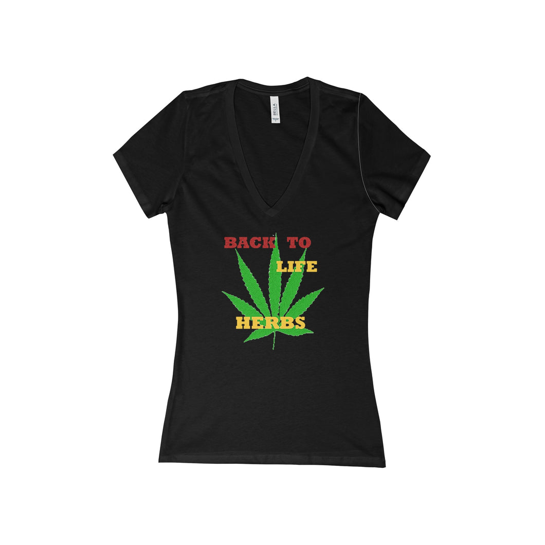 HEALING HERBS,...Women's Slim Fit Deep V-Neck Jersey Tee