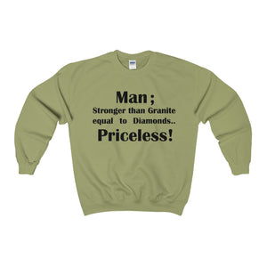 MAN; STRONGER THAN GRANITE...,(Black print)Heavy Blend™ Adult Crewneck (Sweatshirt)