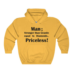 MAN; STRONGER THAN GRANITE...,(Black print) Unisex Heavy Blend Hooded Sweatshirt