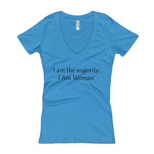 I AM WOMAN...,  Women's V-Neck T-shirt