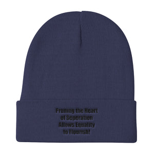 PRUNING THE HEART OF SEPARATION...,(Black Print),  Knit Beanie