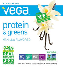 Vega Protein & Greens, Plant Protein Shake, Vanilla,net weight 26.8 ounce,25 servings