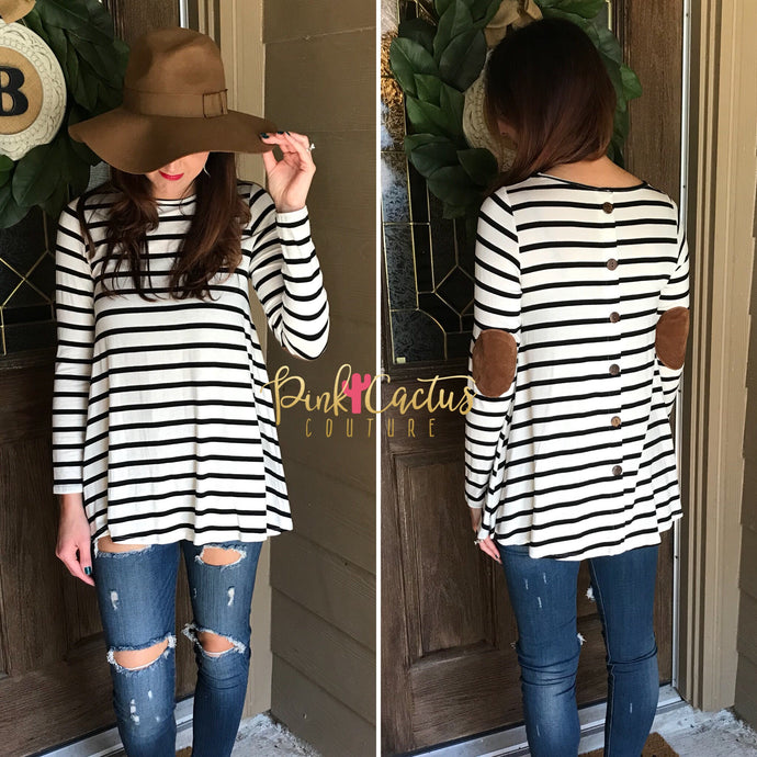 Black and White Stripe Long Sleeve Top