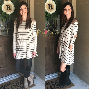 Black and Taupe Striped Tunic Dress