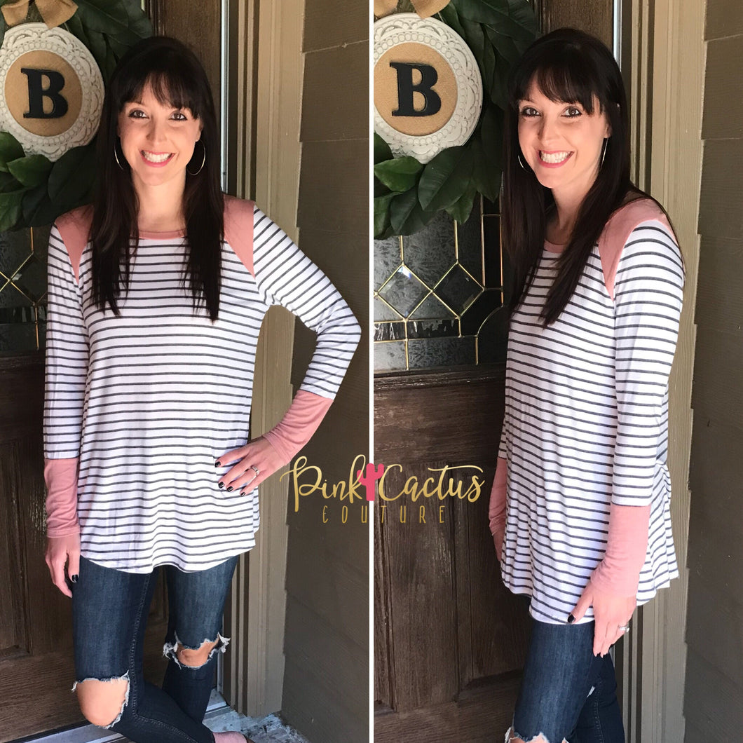 Mauve and Gray Stripe Top