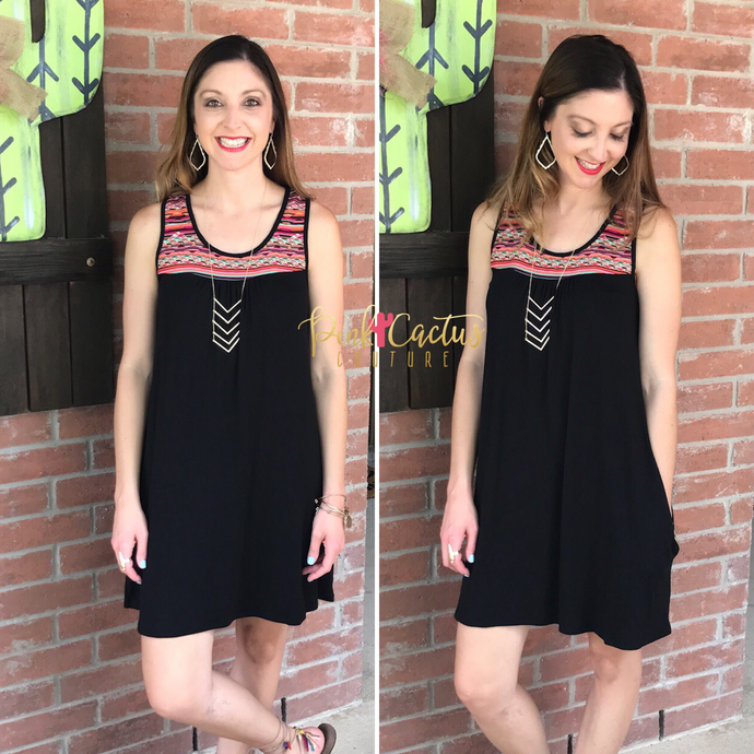 Black Aztec Embroidered Dress